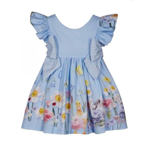 Blauwe jurk thema lente met strikjes Lapin House
