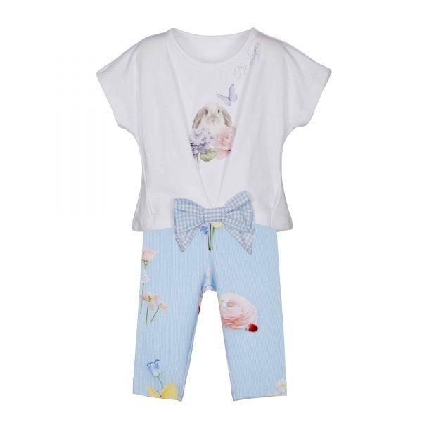 Setje met wit T-shirt en blauwe legging Lapin House