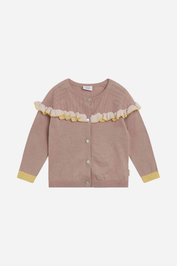 roze cardigan met licht-roze accenten van Hust and Claire
