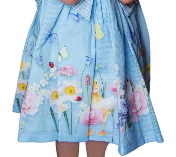 Lapin house blauwe jurk met dieren en bloemen