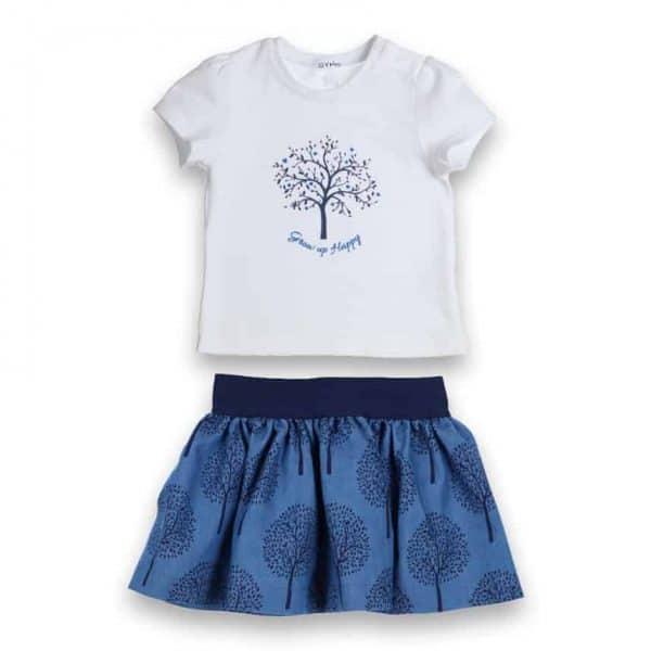 set T-shirt grow up happy met blauw rokje tree Gymp