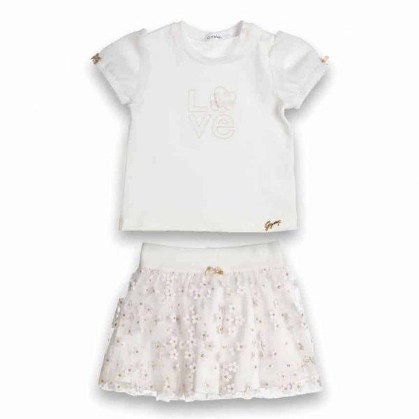 setje van Gymp met witte T-shirt Love en wit rokje met gouden bloemetjes