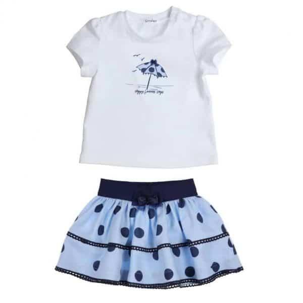 set t-shirt umbrella en rokje polka dots