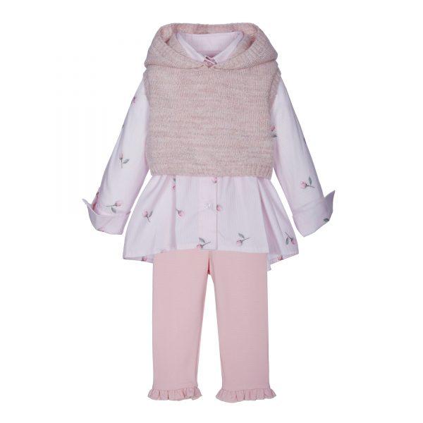 Lapin House set met legging, blouse en korte trui 'roses'